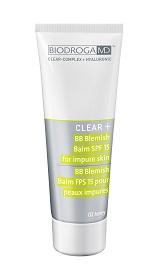 CLEAR +BB CREAM BLEMISH BALM SPF 15 FOR IMPURE SKIN 02 honey –  Krem typu BB SPF 15 do skóry zanieczyszczonej – kolor – miód. nr. ref. 43614. Opakowanie 75ml.